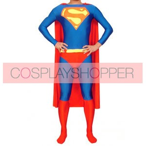 Blue And Red Superman Lycra Spandex Superhero Zentai Suit