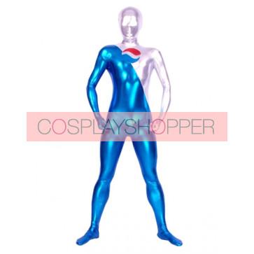 Blue And Silver Full Body Shiny Metallic Unisex Zentai Suit