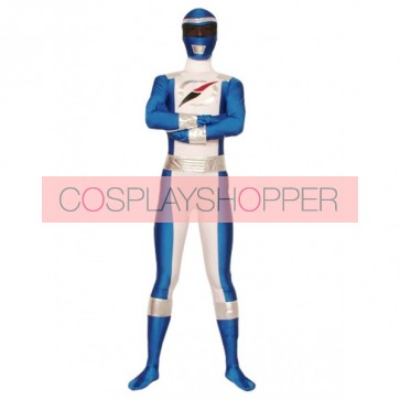 Blue And White Lycra Spandex Superhero Zentai Suit