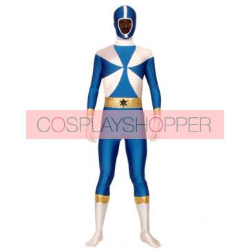 Blue And White Lycra Spandex The Terminator Superhero Zentai Suit