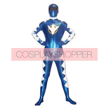 Blue And White Shinny Metallic Superhero Zentai Suit