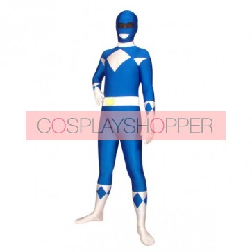 Blue And White Universal Soldier Lycra Spandex Superhero Zentai Suit