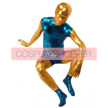 Blue And Yellow Full Body Shiny Metallic Unisex Zentai Suit