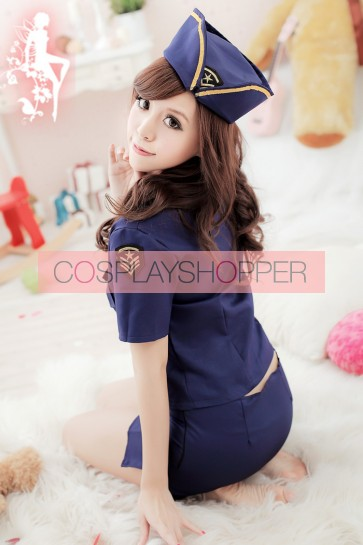 Blue Classic Pocket Flight Attendant Costume