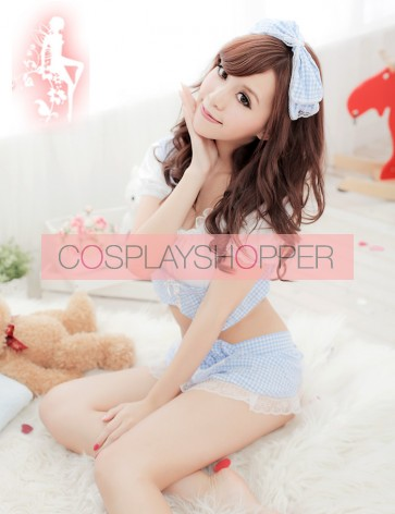 Blue Cute Pocket Two-piece Maid Costume