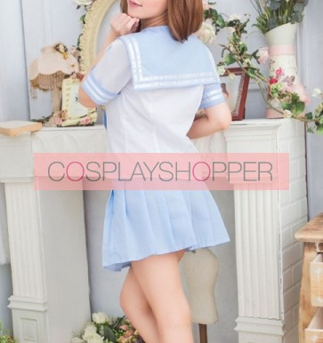 Blue Cute Short Sleeves Girl School Uniform Cosplay Costume