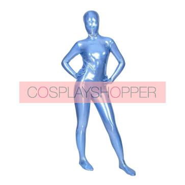 Blue Full Body Shiny Metallic Unisex Zentai Suit