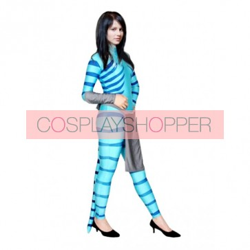 Blue Lycra Spandex Camouflage Unisex Zentai Suit