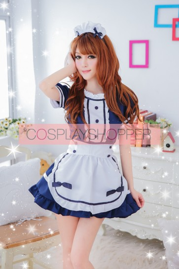 Blue Sexy Strap Lace French Maid Uniform
