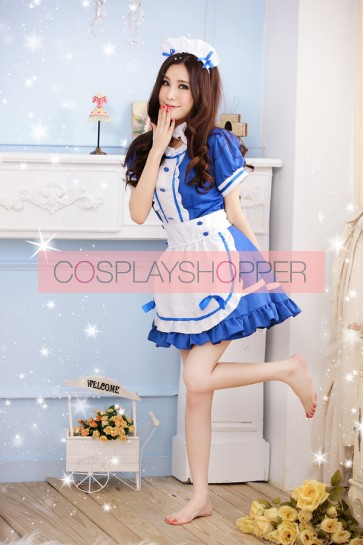 Blue Sweet Short Sleeves Bow French Maid Uniform