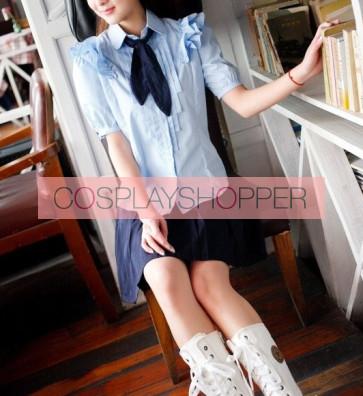 Blue Sweet Short Sleeves Girl Japanese School Uniform Cosplay Costume