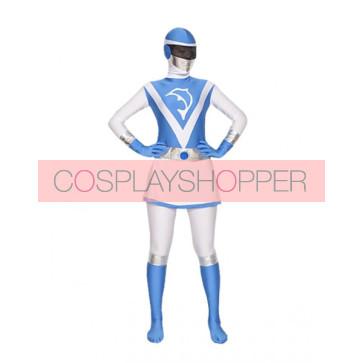 Blue & White Lycra Spandex Unisex Superhero Zentai Suit