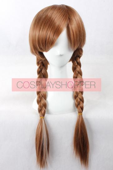 Brown 65cm Frozen Princess Anna Cosplay Wig