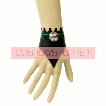 Charming Black Leather Button Lady Lolita Wrist Strap