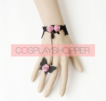 Charming Butterfly Floral Lady Lolita Bracelet And Ring Set