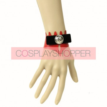 Charming Red Leather Button Lady Lolita Wrist Strap