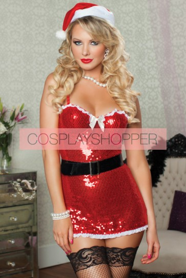Charming Red Polyester Lady Santa Christmas Costume