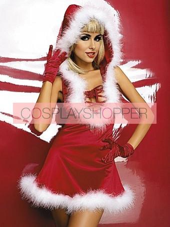 Charming Santa Lace-up Front Women Christmas Dress