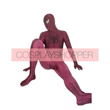 Claret Lycra Spandex Spiderman Zentai Suit