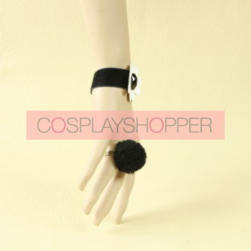 Classic Black And White Lady Lolita Bracelet And Ring Set