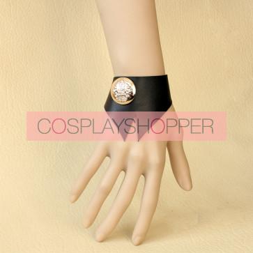 Classic Black Leather Button Lolita Wrist Strap