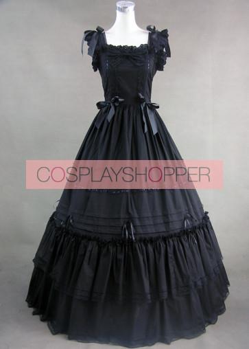 Classic Black Sleeveless Lolita Dress With Ruffled Ribbon Cotton