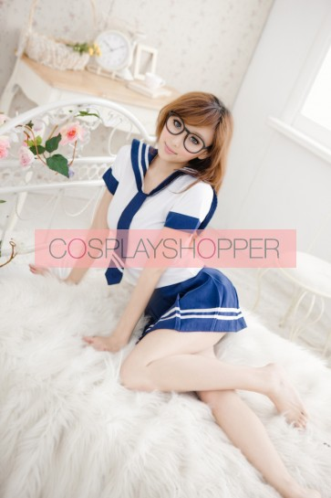 Classic Blue Short Sleeves School Girl Uniform