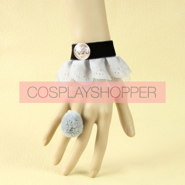 Classic Greay Button Lady Handmade Lolita Bracelet And Ring Set