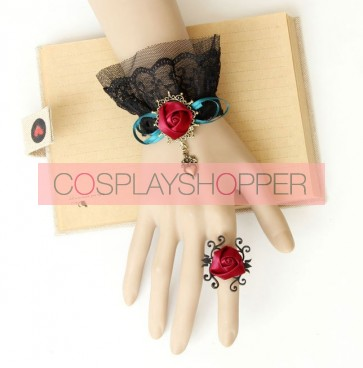 Classic Rococo Lace Rose Lolita Bracelet And Ring Set