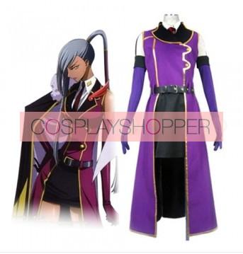 Code Geass Villetta Nu Cosplay Purple Overcoat Costume