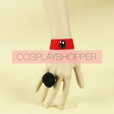 Concise Black And Red Fashion Girls Lolita Bracelet And Ring Set