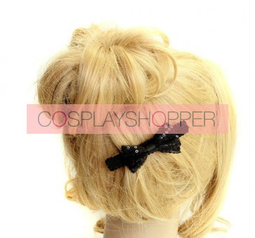 Concise Black Bow Girls Lolita Hairpin