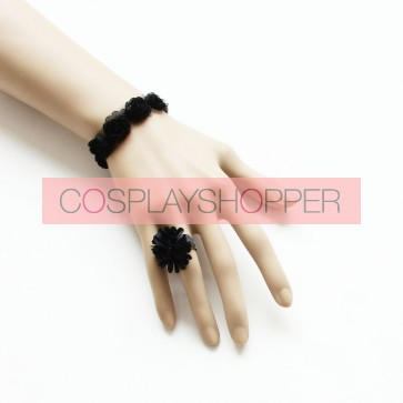 Concise Black Floral Lolita Bracelet And Ring Set