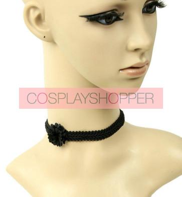 Concise Black Floral Lolita Necklace