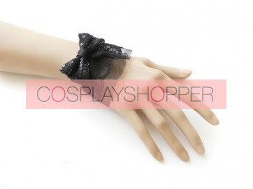 Concise Black Lace Bow Office Lady Lolita Wrist Strap