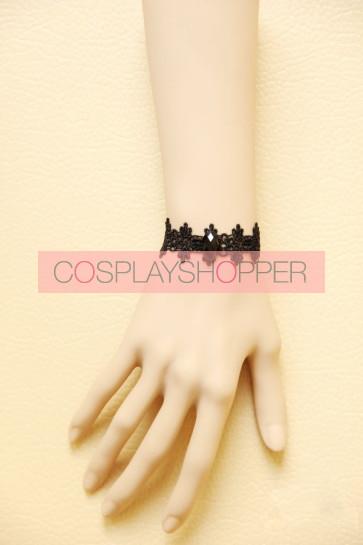 Concise Black Lace Lolita Wrist Strap