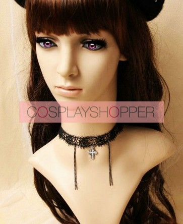 Concise Black Lace Metal Cross Lolita Necklace