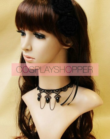 Concise Black Lace Victorian Beaded Lolita Choker