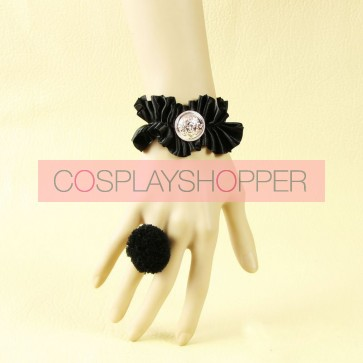 Concise Black Office Girls Lolita Bracelet And Ring Set
