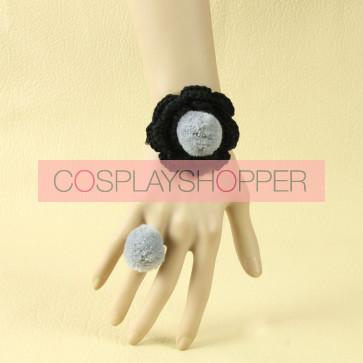 Concise Floral Girls Handmade Lolita Bracelet And Ring Set