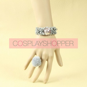 Concise Grey Button Girls Lolita Bracelet And Ring Set