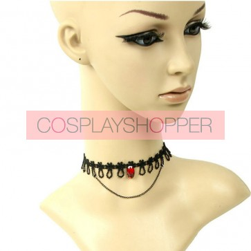 Concise Lace Red Gemstone Lolita Necklace