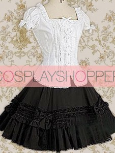 Classic White Cotton Lolita Blouse & Black Lace Lolita Skirt