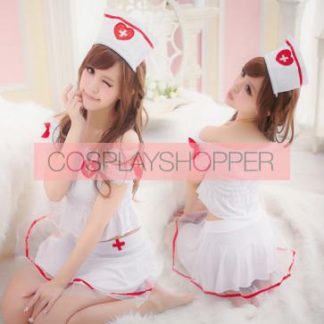 Cute and Hot Pleated Halter Adult Nurse Costume