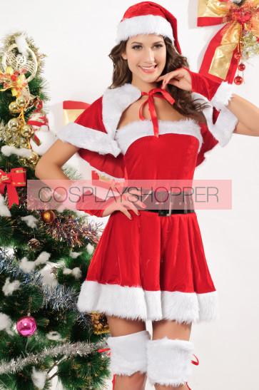 Cute and Naughty Velvet Girls Christmas Costume