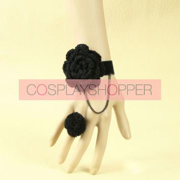 Cute Black Floral Girls Lolita Bracelet And Ring Set