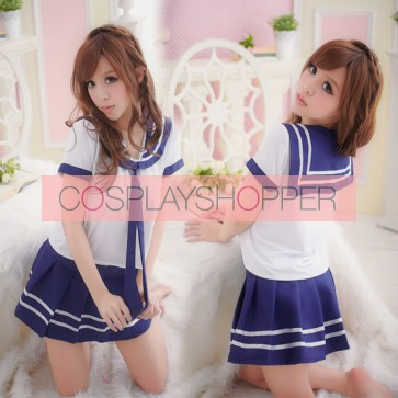 Cute Blue Short Sleeves Girl School Uniform