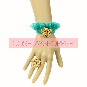Cute Concise Floral Girls Lolita Bracelet And Ring Set