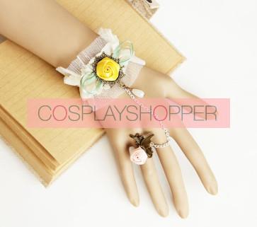 Cute Floral Mori Girls Lolita Bracelet And Ring Set