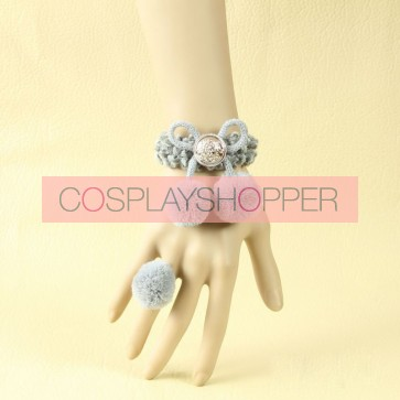 Cute Grey Cherry Decoration Lolita Bracelet And Ring Set
